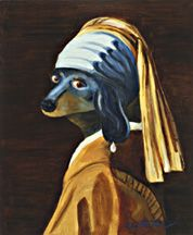 Artist Earl Wettstein takes famous works of art and inserts a doxie! Dachshund Rescue, Arte Dachshund, Wire Haired Dachshund, Girl With Pearl Earring, But Is It Art, Johannes Vermeer, Famous Artwork, Ppr, Dutch Painters