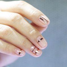 Nail Unistella by EK . Lab — metallic copper stripes