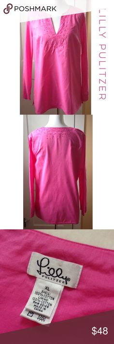 LILLY PULITZER Embroidered & Beaded Tunic This beautiful pink v-neck tunic from LILLY PULITZER has beaded embroidery detailing on the neckline and around the sleeve ends. Split sides for comfort and ease of movement. Side zipper. Fully lined. 100% cotton. Gently preloved and in great condition! See 4th pic for very minor, barely noticeable discoloration patches on left shoulder and left sleeve end. Otherwise this tunic is in perfect condition! 🌟 Lilly Pulitzer Tops Tunics