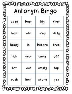Education synonyms worksheet teaching ideas pinterest antonym contraction homophone synonym bingo boards m4hsunfo