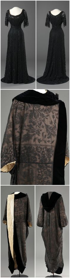 Dress and coat of machine-made tulle, silk satin and velvet, hand-embroidered with silk thread and beads, as well as machine-made lace, metal clasps. Maker unknown (London, United Kingdom). 1907-08 (dress) / c. 1910 (coat). The National Museum of Art, Architecture and Design, Oslo. Via DigitaltMuseum. The gown has the same silhouette as dresses worn by Queen Maud of Norway during the same period; it is likely that this ensemble came from her wardrobe as well. CLICK FOR LARGER IMAGES.