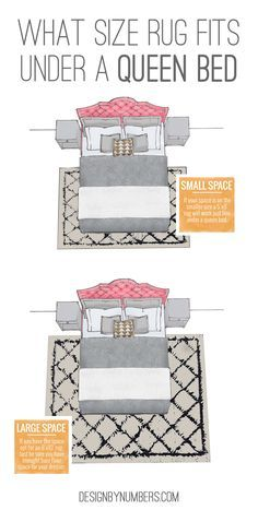 What size rug fits under a queen bed | Design by Numbers