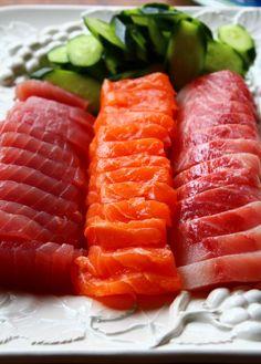 Tuna, Salmon, and Red Snapper Shashimi... the Shashimi Trifecta