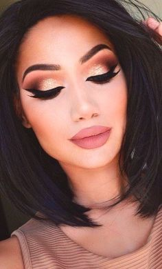 Contouring + Lashes + Feline Liner + Brown Crease + Nude Lips + Champagne Eyelid + Brown Outer V