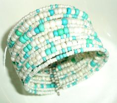 Turquoise & White Seed Bead Cuff Bracelet *free ship* (cb) $6.95 Wire Jewelry, Jewelry Crafts, Beaded Jewelry, Jewelery, Beaded Cuff Bracelet, Memory Wire Bracelets, Seed Beads, Beading, Hobbies
