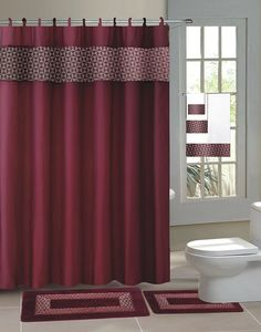 4 Piece Luxury Embroidered Bath Rug Set 3 Burgundy Bathroom Rugs With Fabric Shower Curtain And Matching Rings