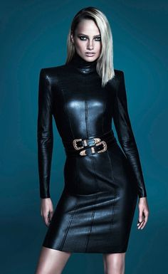 Karmen Pedaru by Mert Alas & Marcus Piggott for İpekyol FW 2014 ad campaign | black leather short dress