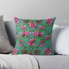 """Spring Blossoms - Pink Crabapple Blossoms on Teal"" Throw Pillow by somecallmebeth 