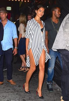 Wow: Shanina Shaik chose to flaunt her impressive figure in a daring fashion choice on Tuesday evening
