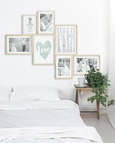 Wall decoration bedroom- Design your own wall collage from a mix of Love posters from Printcandy that you have personalized and your romantic photos. # Bedroom ideas wall decoration Love poster design yourself and conjure up romantic wall decoration! Poster Love, Love Posters, Decoration Bedroom, Decoration Table, Wall Decorations, Home Bedroom, Bedroom Wall, Cama Vintage, Collage Mural