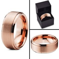 Tungsten Wedding Band Ring 8mm for Men Women Comfort Fit 18K Rose Gold Plated Beveled Edge Brushed Polished Lifetime Guarantee Size 4