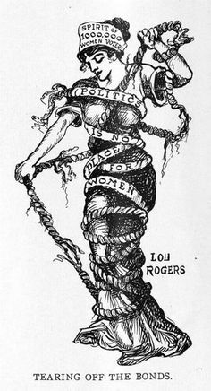 This 1912 drawing by Lou Rogers printed in Judge magazine shows how women used chains in the aftermath of the Civil War as a symbol of how they had not been fully emancipated.