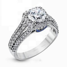Pave Set Round D/VVS1 Diamond White Gold FN Designer Engagement Ring 1.60CT.T.W. #beijojewels #SolitairewithAccents