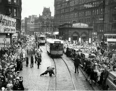 Last tram parade, Sep 1962. People placed pennies on the tram line so that they would have a souvenir marked by the last trams. A sad day.