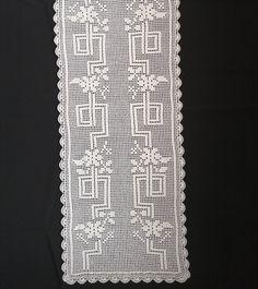 Stitches, Crochet Table Runner, Crochet Dollies, Crochet Storage, Crochet Curtains, Crochet Diagram, Railings, Crochet Doilies, Crochet Stitches