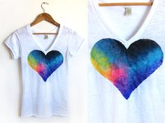 Splash Dyed Hand PAINTED Heart White Burnout Deep V Tee Shirt in Spectrum Rainbow