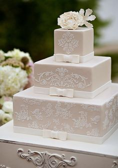 Taupe with Ivory Lace Wedding Cake
