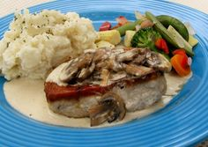 LOW-CARB:  Pork Chops With Mushroom Cream Sauce. Delicious.  Carb-loving BF loved it.