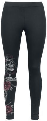 - High waist - Tight-fitting - Print on the right leg  The Moribundia Leggings from Alchemy England feature a stylish print of a skull decorated with roses on the bottom part of the right leg. The print is sure to turn heads wherever you go, and as you'd expect they have a fashionably close-fitting cut.
