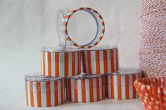 Party Favor Canister Orange Stripe  @Lemon Drop Shop on Etsy