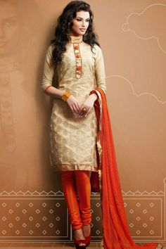 Designer Embroidered Party Churidar Kameez; Champagne Orange and Orange-red Chanderi Silk and Cotton Embroidered Party and Festival Churidar...