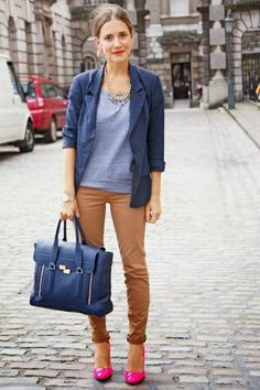 Grey warm sweater with navy blue coat and navy blue leather hand bag and raw sienna casual plan jeans and pink cute pumps