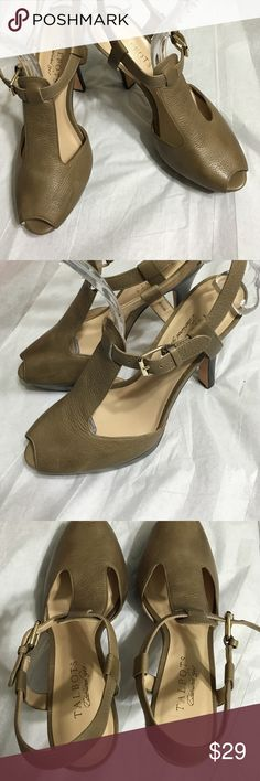 """Talbots T-strap Heels Au Natural Leather, t-strap, adjustable buckle around ankle, peep toe, stacked 4 1/3"""" heel, 1"""" platform. Leather lining and sole. Taupe Talbots Shoes Heels"""