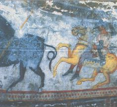A horseman, piercing a boar The murals of the Thracian tomb near the village of Aleksandrovo, Haskovo district, are older and brighter than those of the Kazanluk tomb. Bugarska