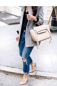 sneakers and pearls, street style, what to wear on a weekday, grey pumps with denim ans a grey coat, trending now.jpg