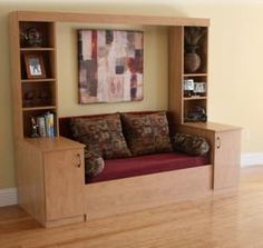 """Slide Away {Sofa} Bed - """"The Ultimate Murphy Bed / Wall Bed Alternative. Murphy Bed With Sofa, Murphy Bed Plans, Murphy Beds, Tiny House Furniture, Home Furniture, Furniture Design, Compact Furniture, Tiny House Blog, Tiny House Living"""
