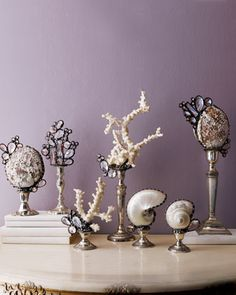 sea life sculptures created with various shells coral austrian crystals and solder - Decorative Accents