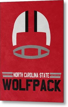Wolfpack Metal Print featuring the mixed media North Carolina State Wolfpack Vintage Football Art by Joe Hamilton