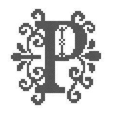 "Letter ""P"" Cross Stitch/Cross Stitch Monogram/Cross Stitch Initial/ Cross Stitch Pattern/ Counted Cross Stitch/Digital Download/Modern P"
