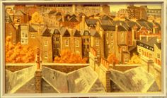 """Bloomsbury rooftops"" from Brunswick Sq. B.R.Barber 1964 Oil on hardboard"