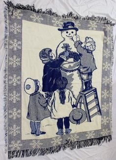 Snowman Holiday Woven Tapestry Throw Blanket Wall Hanging USA Made Christmas #