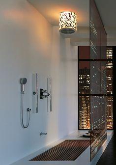Beautiful Urban Modern Chic Bathroom featuring Shower & the City View!  bathroom-interiors-jaclo-lumiere-tondo.jpg
