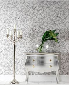 Silver walls and chest via Becky Harris #zincdoor #silver