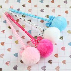 4  Pcs / Pack , Student Prizes Creative Promotional Pens, Balls Plush Ballpoint Pen, Cute Ball-Point Pens School Supplies #jewelry, #women, #men, #hats, #watches, #belts