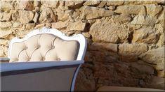 Eladó antik neobarokk fotel Chesterfield Chair, Country Chic, Wabi Sabi, Rustic Furniture, Vintage Designs, Accent Chairs, Shabby Chic, Diy, Home Decor