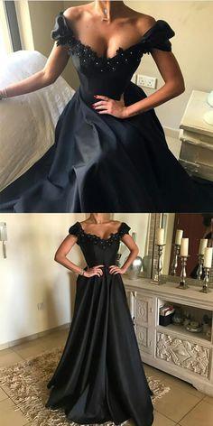 elegant long black satin prom dresses lace v neck evening gowns