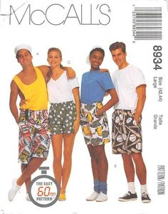 MCCALLS 8934 - FROM 1997 - UNCUT - MISSES, MENS OR TEEN BOYS BOXER SHORTS IN THREE LENGTHS
