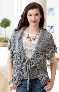 "Crocheted ""Love This Cardi"" cardigan is a free pattern from Red Heart"