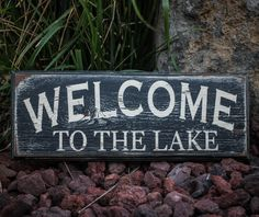Welcome to the Lake - Reclaimed, painted and distressed wood sign - Rustic, Western, Home Decor, Wall Art, Brown, Turquoise. $25.00, via Etsy.