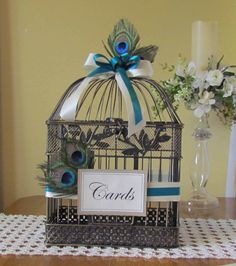 Small Peacock Birdcage Card Holder by justanns on Etsy, $37.00