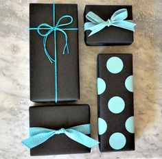 Matte Black Kraft Paper with Turquoise / Aqua Ribbons, Twine and Polka Dots Giftwrap  #giftwrap