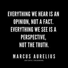 Everything we hear is an opinion, not a fact. Everything we see is a perspective, not the truth… Wise Quotes, Great Quotes, Quotes To Live By, Motivational Quotes, Inspirational Quotes, Fantastic Quotes, Famous Quotes, Short Funny Quotes, Funny Quotes About Life