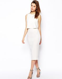 Love this dress, almost bought it // ASOS Double Layer Crop Top Midi http://asos.to/Wk7uAO