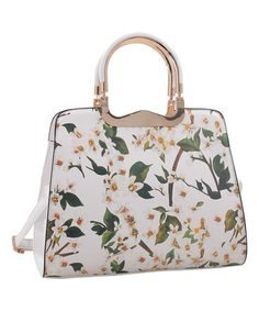 White Contrast-Handle Floral Tote #zulily #zulilyfinds