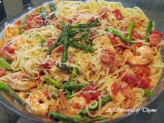 A Spoonful of Thyme: Linguine in Vodka Sauce with Shrimp and Asparagus