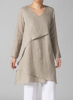 Linen Layering V-neck Tunic Beige- great tunic, boring color